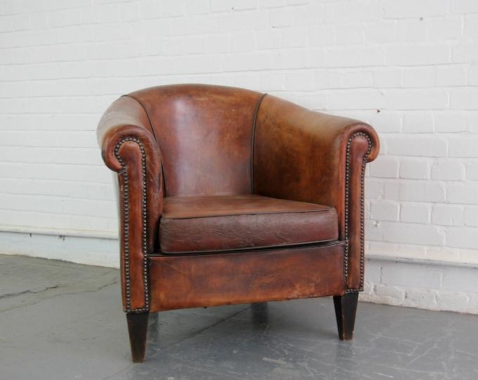 Sheepskin Leather Cognac Club Chair Circa 1950s