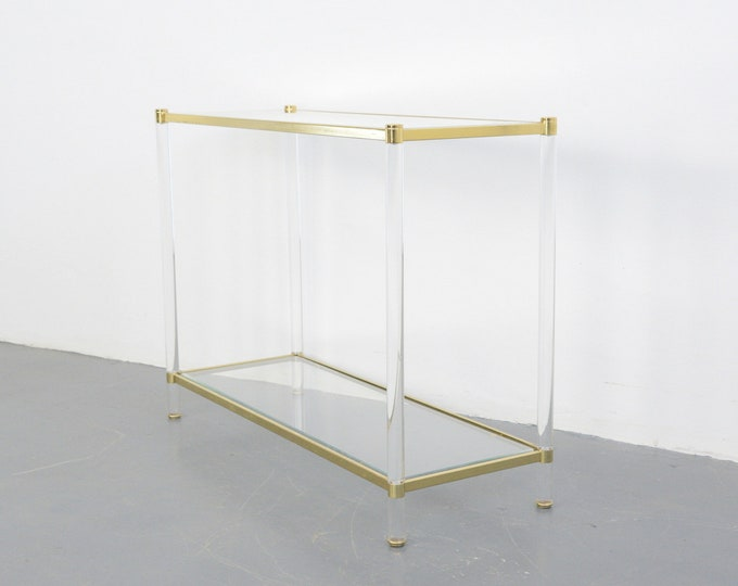 Mid Century Brass & Lucite Console Table