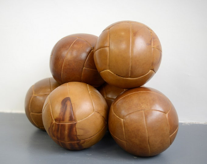 Large Czech Leather Medicine Balls Circa 1950s