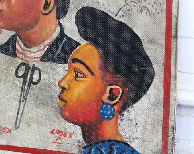 Hand Painted African Barbers Sign Circa 1950s
