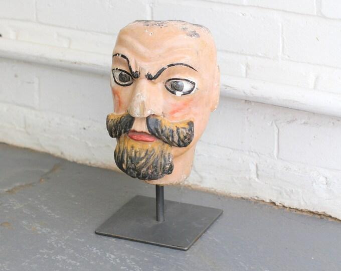 19th Century Carved Fairground Head By Emmanuel Fremiet