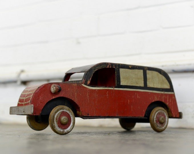 Scratch Built Wooden Toy Car Circa 1930s