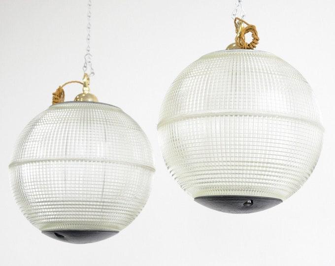 Parisian Holophane Globe Lights Circa 1950s