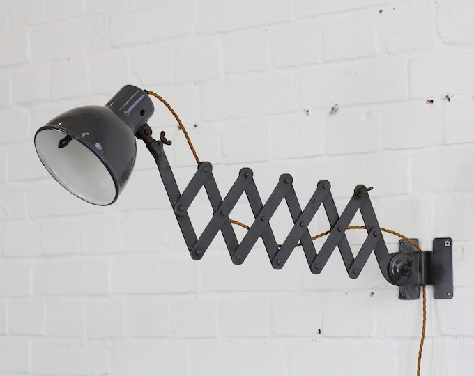 Wall Mounted German Industrial Scissor Lamp Circa 1940s