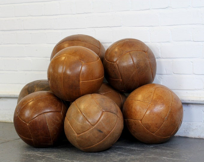 Large Leather Medicine Balls Circa 1940s