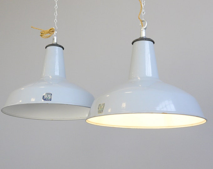 Large Grey Enamel Factory Lights By Benjamin Circa 1950s