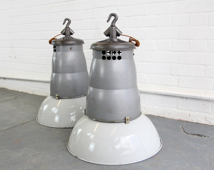 Oversized French Industrial Pendant Lights Circa 1930s