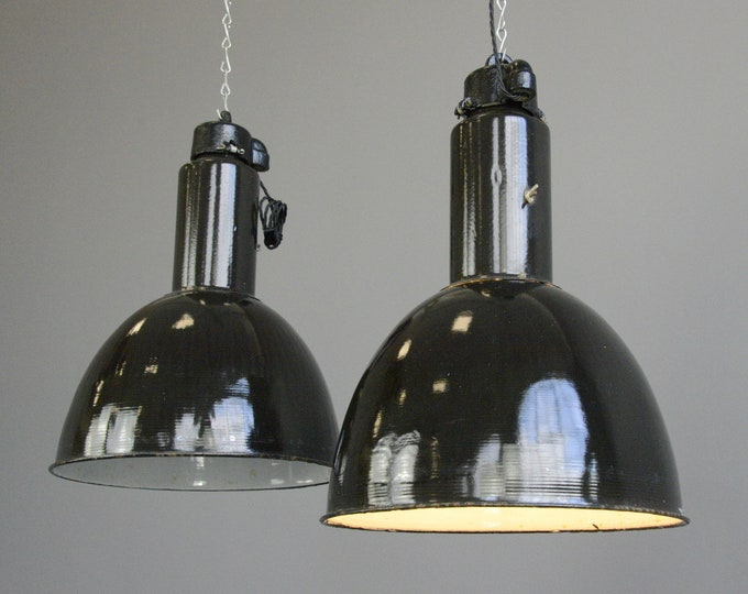 Black Enamel Bauhaus Factory Lights Circa 1930s