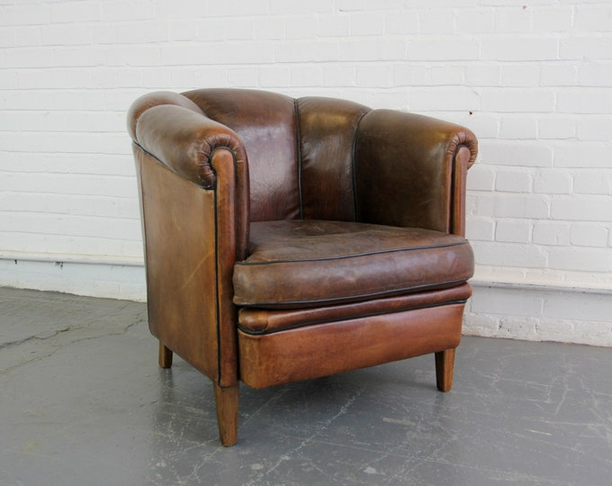 Scalloped Back Leather Club Chair Circa 1940s