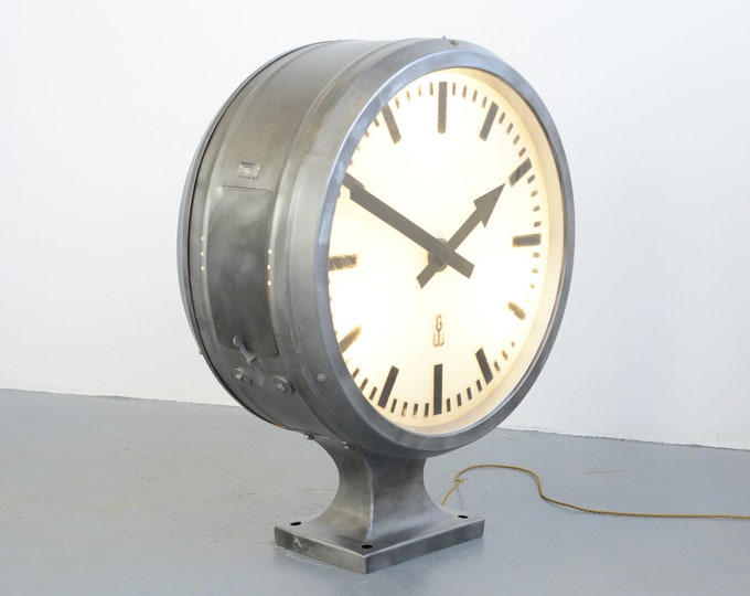 Large Double Sided Industrial Light Up Clock Circa 1960s