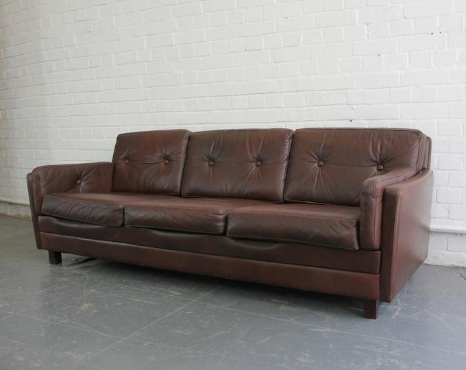 Mid Century Danish Leather Sofa Circa 1950s