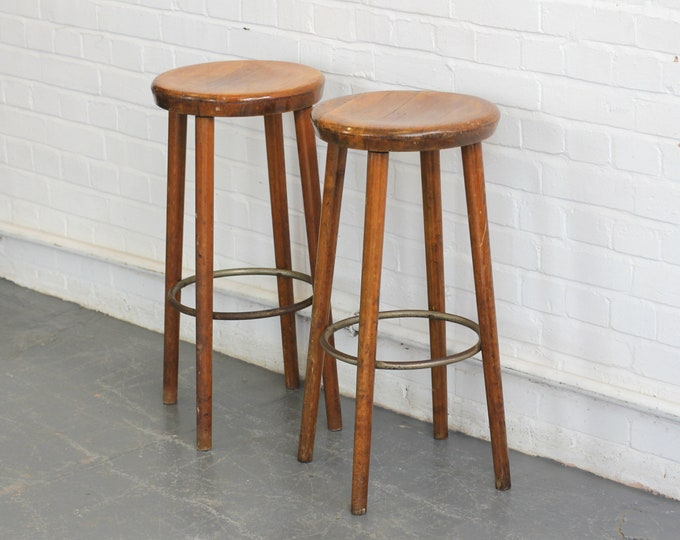 German Beech Bar Stools Circa 1930s