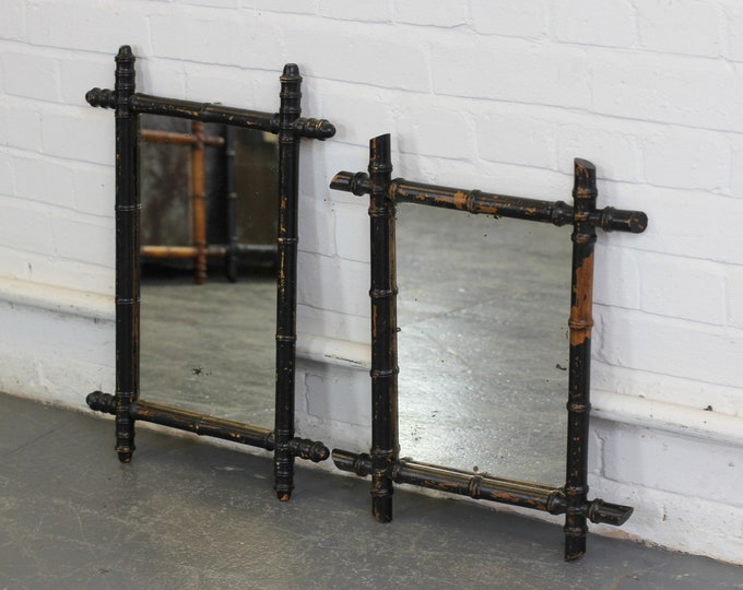 A Pair Of Ebonised Faux Bamboo Mirrors Circa 1900