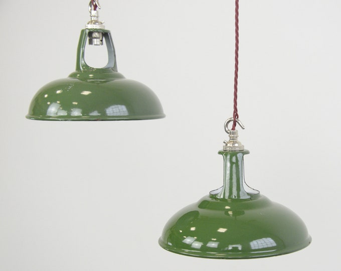 Green Enamel Factory Shades By Coolicon Circa 1950s
