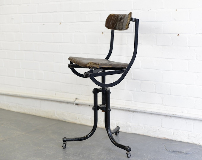 Early Tan Sad Industrial Machinists Chair Circa 1920