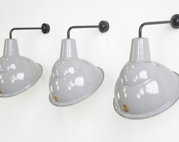 Parabolic Grey Enamel Wall Lights By Benjamin Circa 1950s