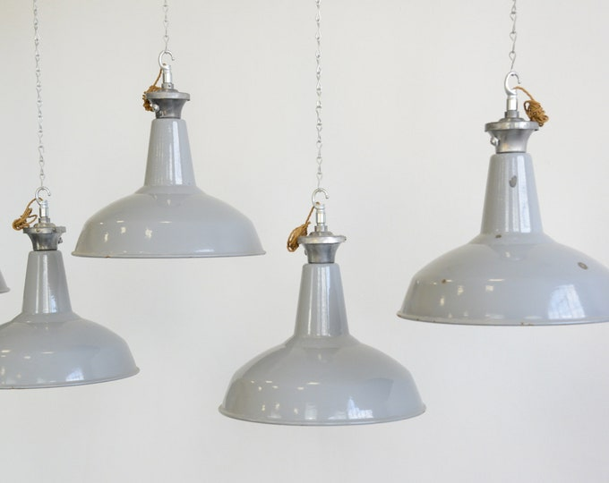 Large Grey Enamel Factory Lights By Benjamin Circa 1950s