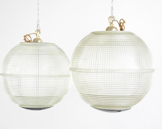 XL Parisian Holophane Globe Lights Circa 1950s