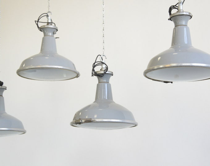 Factory Lights With Convex Glass Diffusers By Benjamin