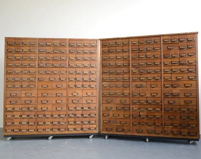 Wooden Dental Surgery Record Cabinets Circa 1950s