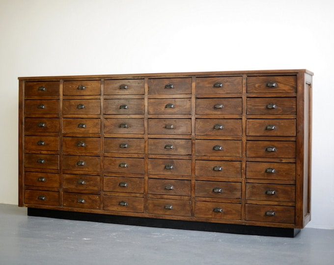 Large Bank Of French Hardware Store Drawers Circa 1910