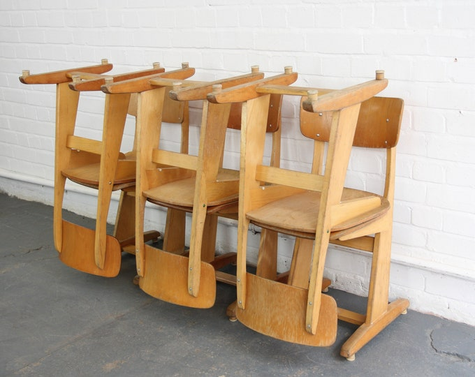 Mid Century Beech Utility Chairs By Casala Circa 1960s