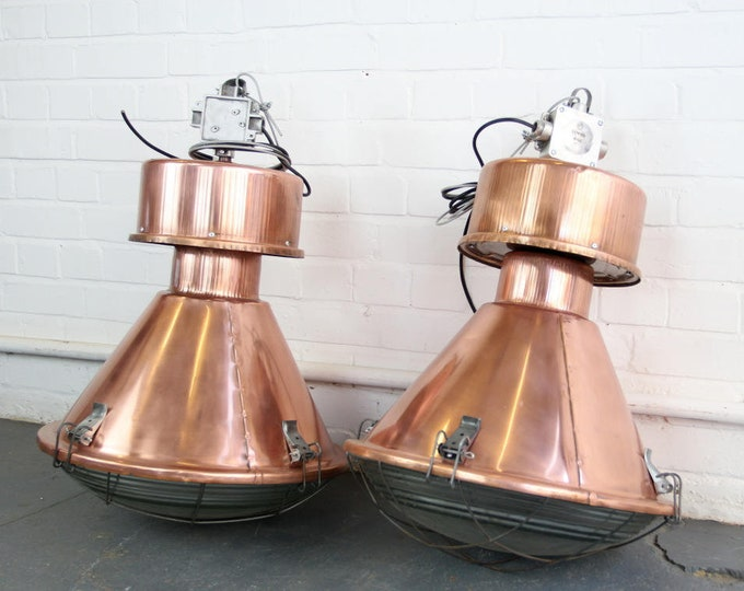 Large Copper Industrial Pendant Lights Circa 1950s