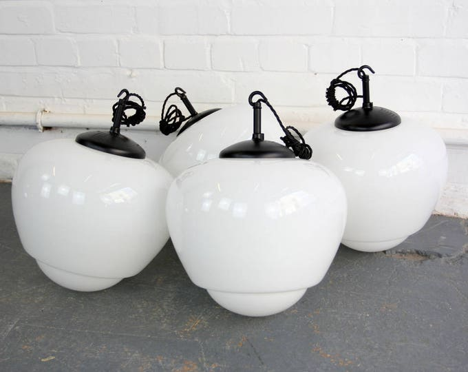 Large Elegant Czech Opaline School Lights Circa 1940s