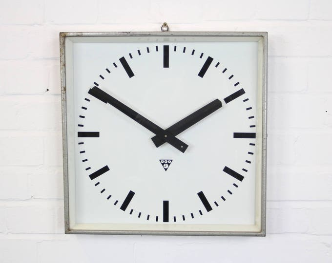 Large Grey Industrial Factory Clocks By Pragotron Circa 1960's