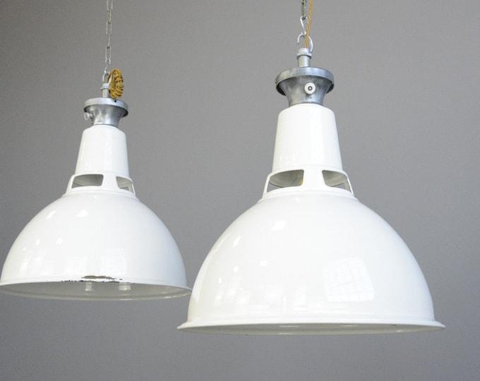 Large White Enamel Factory Lights By Benjamin Circa 1950s