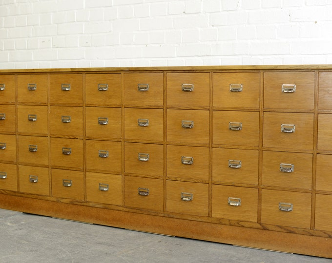 Oak Mid Century German Apothecary Drawers Circa 1950s