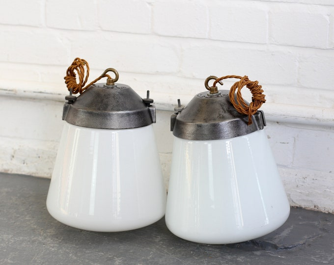 Industrial Opaline Pendant Lights By Siemens Circa 1930s