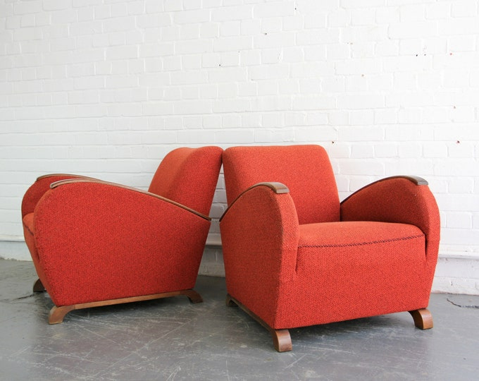 A Pair Of Czech Art Deco Armchairs Circa 1930s