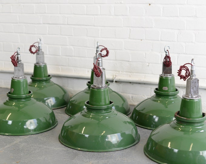 English Factory Lights By Thorlux Circa 1950s