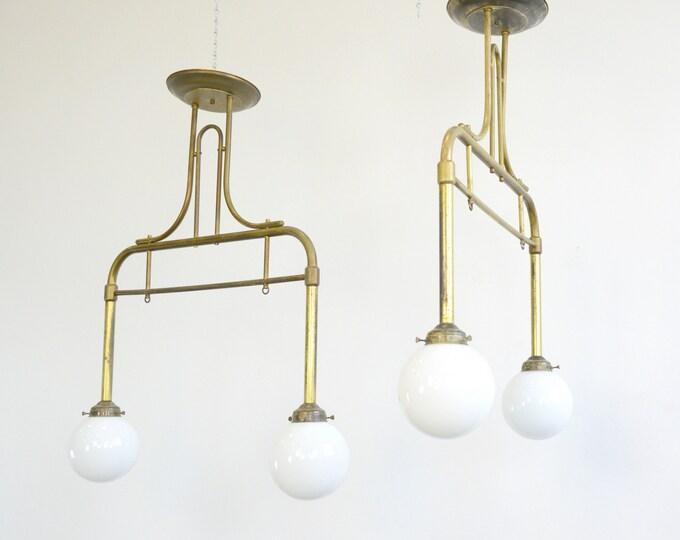 German Brass & Opaline Cafe Lights Circa 1940s
