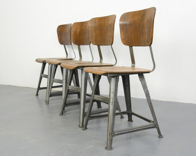 Industrial Factory Chairs By Rowac Circa 1920s