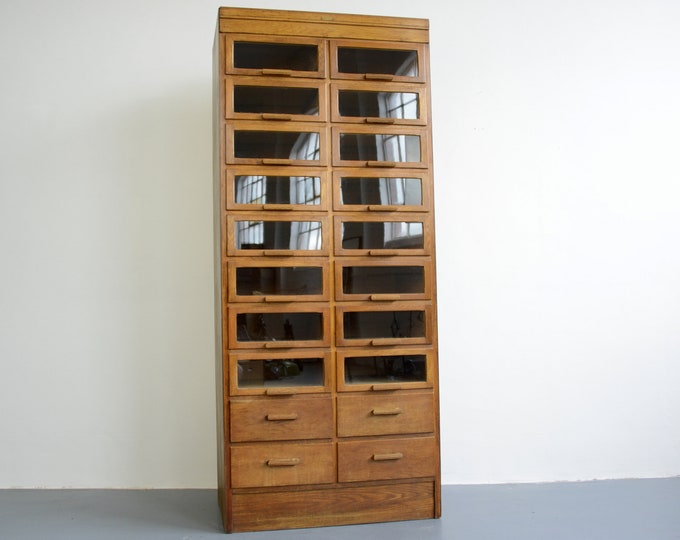Window Fronted Oak Haberdashery Cabinet Circa 1930s
