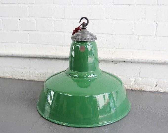 Large Green Enamel Factory Light By Maxlume Circa 1950s