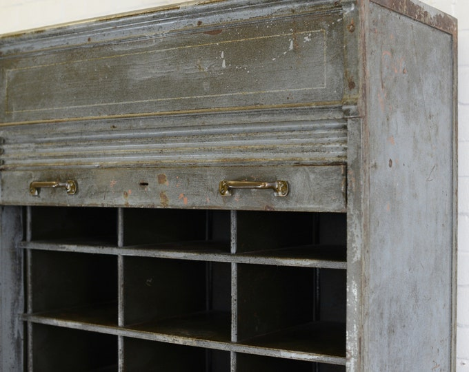 Large Industrial Tambour Fronted Cabinet By Strafor Circa 1920s