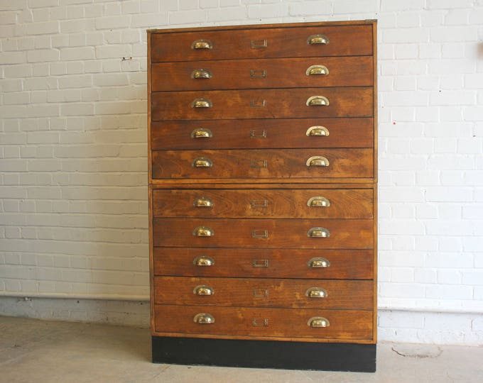 Large Bank Of Mid Century School Art Drawers Circa 1970s