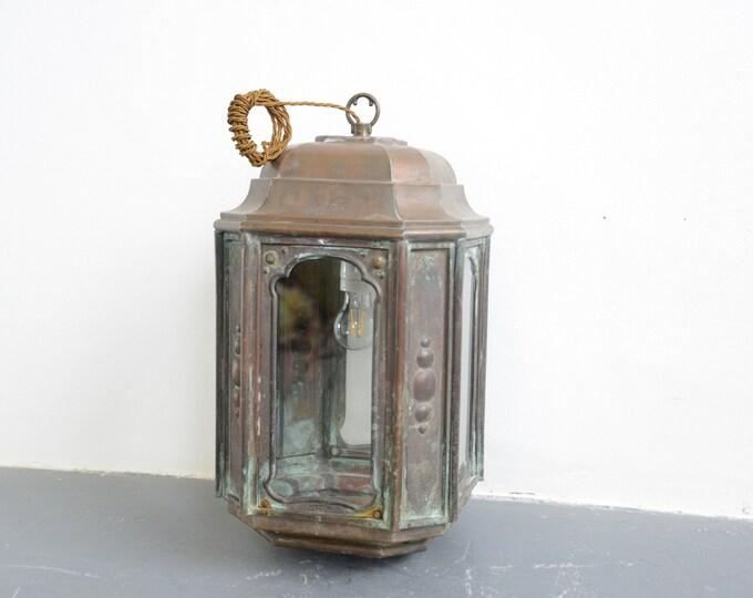 French Art Nouveau Copper Lantern Circa 1900