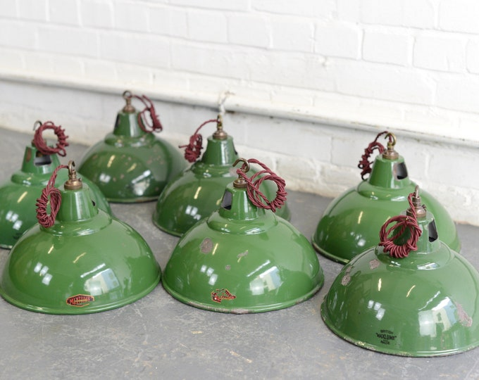 Early Maxlume Industrial Pendant Lights Circa 1920s