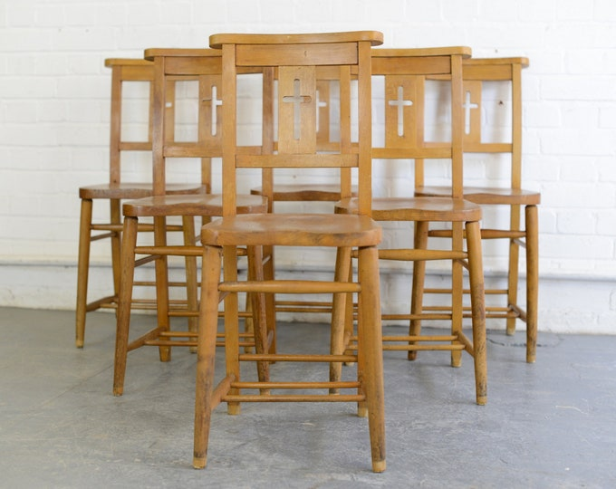 English Elm Chapel Chairs Circa 1950s