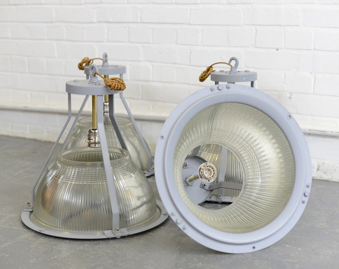 Large Aircraft Hanger Lights By Holophane Circa 1940s
