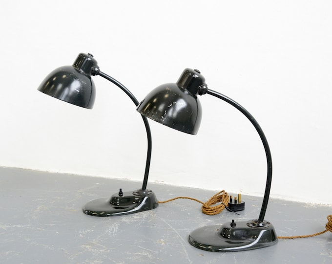 Kandem 1115 Table Lamps With Pressed Glass Base