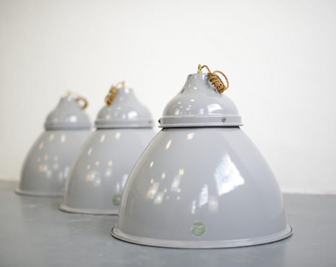 Large Grey Enamel Benjamin Factory Lights 1950s V2