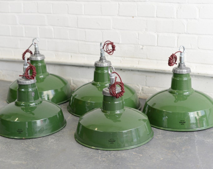 Green Enamel Factory Lights By Maxlume Circa 1930s V2