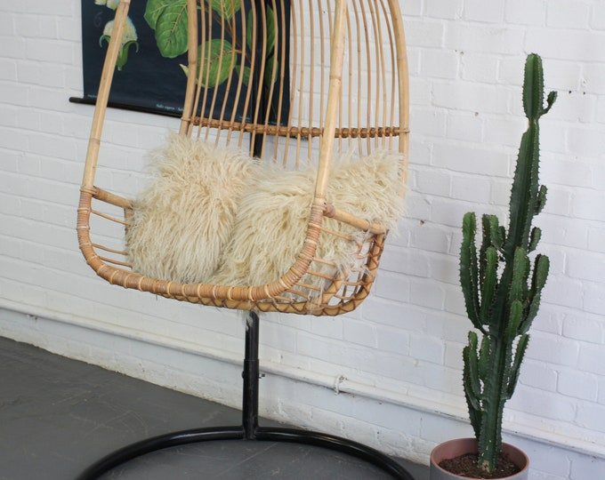 Mid Century French Rattan Swing Chair Circa 1950s