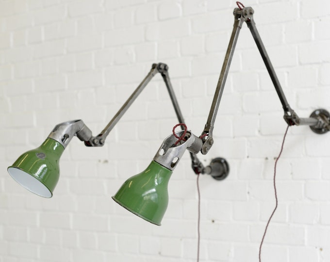 Wall Mounted Industrial Task Lamps By Mek Elek Circa 1930s