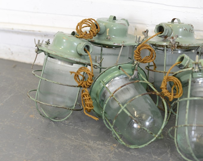 Mint Green Soviet Industrial Pendant Lights Circa 1960s